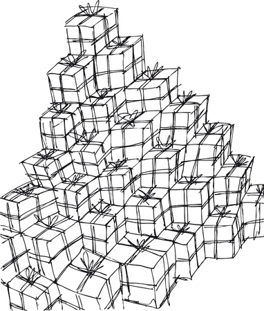 naive: gift boxes illustration Illustration