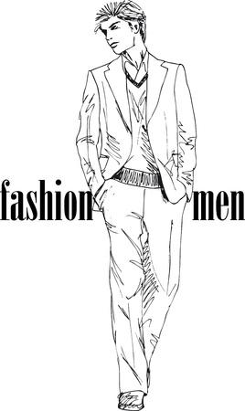 ふだん着: ファッション ハンサム男ベクター イラスト スケッチ  イラスト・ベクター素材