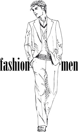 male fashion model: Sketch of fashion handsome man  Vector illustration