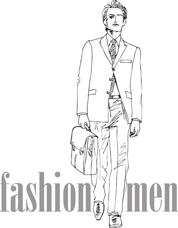 Sketch of fashion handsome man. Vector illustration Stock Vector - 13930037