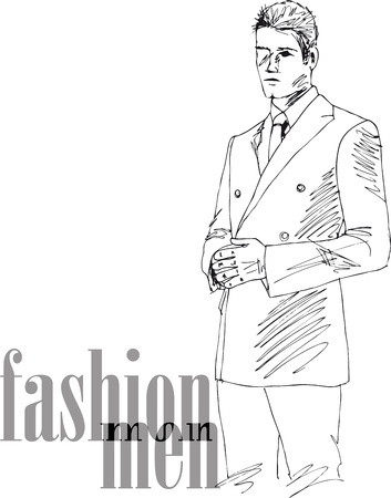 Sketch of fashion handsome man. Vector illustration Stock Vector - 13930040