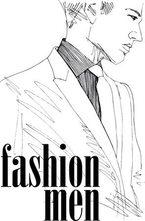 Sketch di moda uomo bello. Vector illustration