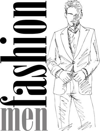 vogue: Sketch of fashion handsome man. Vector illustration Illustration