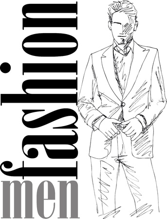 Sketch of fashion handsome man. Vector illustration Vector