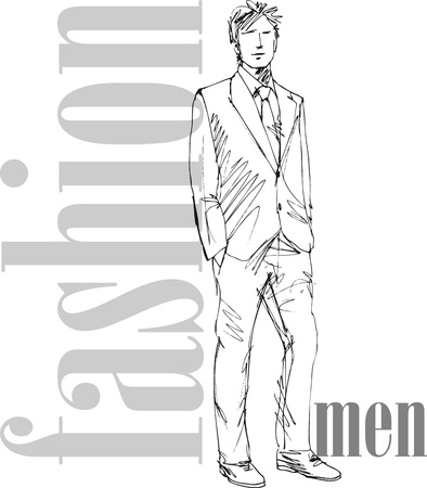 young male: Sketch of fashion handsome man. Vector illustration Illustration