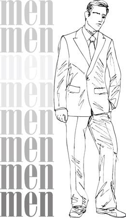 mannequin: Croquis de mode des hommes beaux. Vector illustration