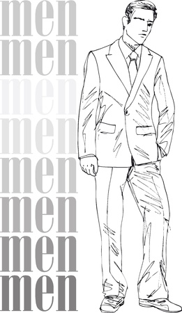 Sketch of fashion handsome men. Vector illustration Stock Vector - 13930048
