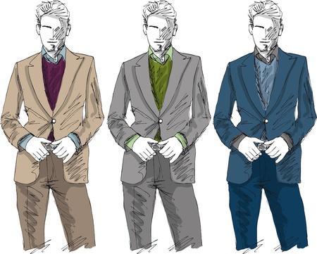 sketch: Schets van de mode knappe man. Vector illustratie