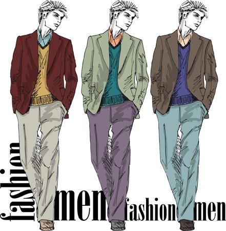 Szkic mody przystojny mężczyzna. Ilustracji wektorowych