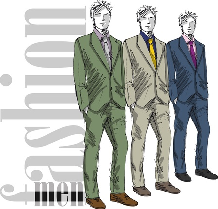 moda casual: Boceto de moda hombre guapo. Ilustraci�n vectorial Vectores