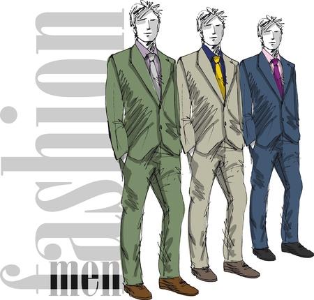 mannequin: Sketch di moda uomo bello. Vector illustration Vettoriali