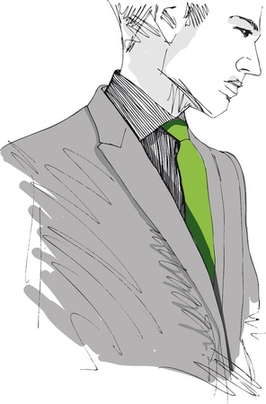 Croquis de l'homme de la mode belle. Vector illustration
