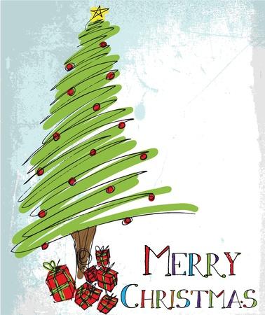 boldog karácsonyt: Vázlat a karácsonyfa. Vektoros illusztráció