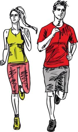 road runner: Sketch of couple marathon runners. Vector illustration Illustration