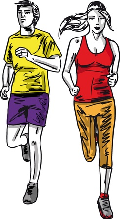 run way: Sketch of couple marathon runners. Vector illustration Illustration