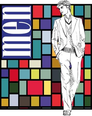 Sketch of fashion handsome man  Vector illustration Stock Vector - 14026921