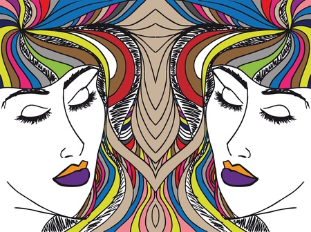 Abstract sketch of woman face  Vector illustration Stock Vector - 14026924