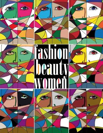 Abstract woman face  Vector illustration Illustration