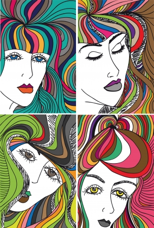 Abstract sketch of woman face  Vector illustration  Vector