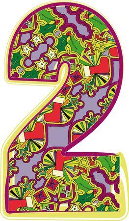 natale: Christmas hand drawn number. Vector illustration Illustration