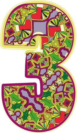 Christmas hand drawn number. Vector illustration Vector