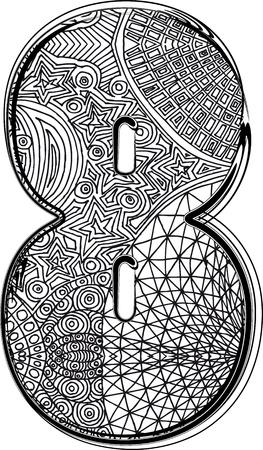 number eight: Fantasy font illustration