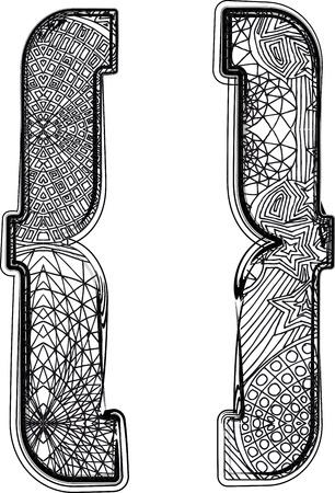 punctuation: Fantasy font. Vector illustration