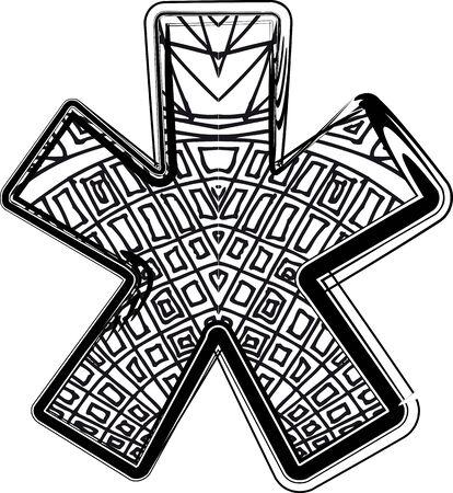 asterisk: Fantasy font illustration
