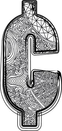 cent: Fantasy font. Vector illustration
