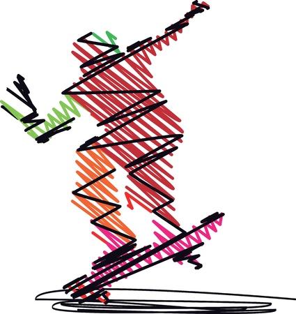 skateboard park: Skater saltando Resumen. Ilustraci�n vectorial