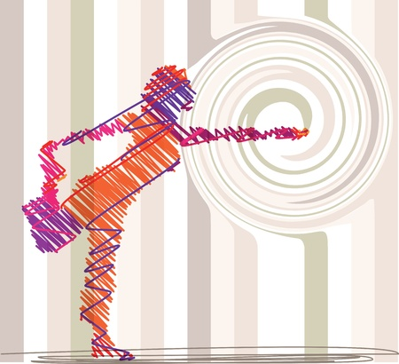 Abstract Sketch of Woman meditating and doing yoga. Vector illustration Illustration