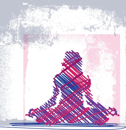 Abstract Sketch of Woman meditating and doing yoga. illustration