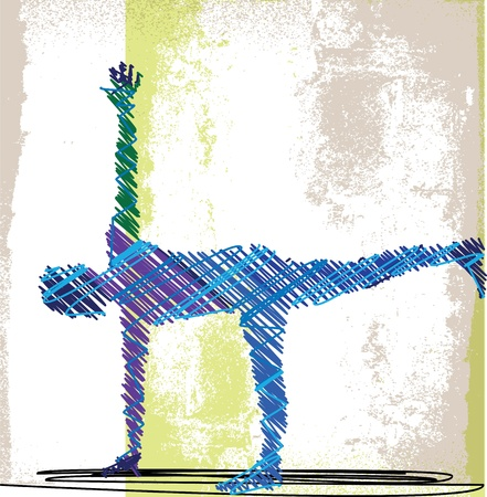 fit body: Abstract Sketch of Woman meditating and doing yoga. illustration