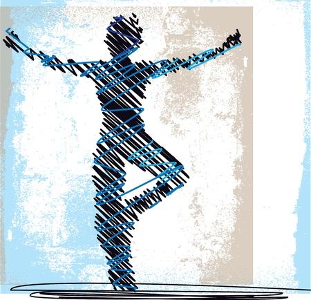 Samenvatting Schets van de vrouw mediteren en yoga. illustratie Vector Illustratie