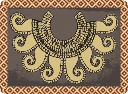 indios americanos: Sketch de collar antiguo. ilustración Vectores