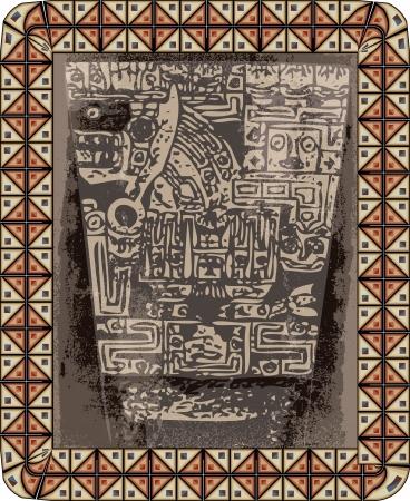 Grunge inca icon. illustration Vector