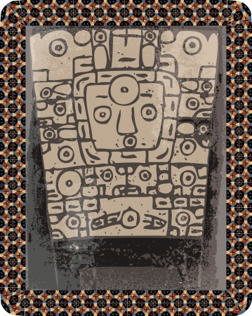 geoglyphs: Grunge inca icon. illustration