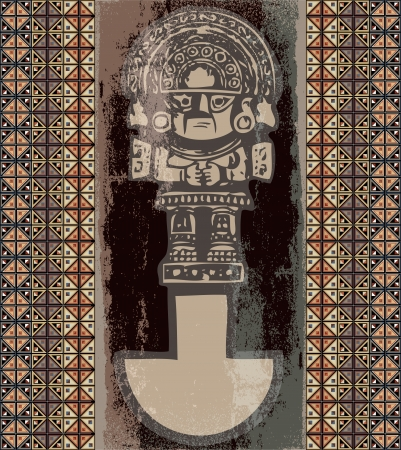inca: Grunge inca icon. illustration