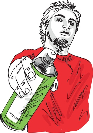 spray paint can: Sketch of young man with a tin of spray  Vector illustration