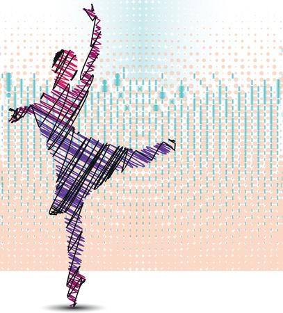 ballet studio: Sketch of dancing ballerina  Vector illustration