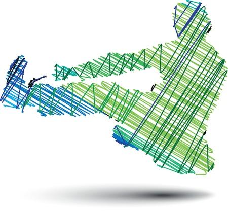 éxtasis: Bosquejo del hombre suspendido en el aire de ilustración vectorial Vectores