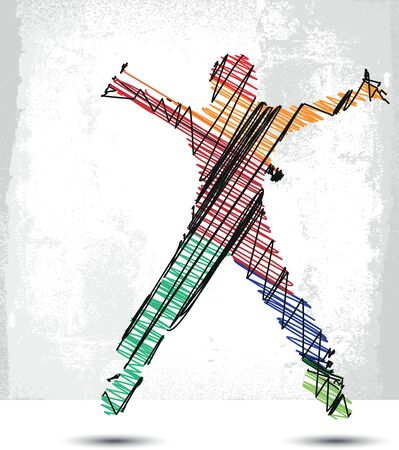 Sketch of man suspended in the air Vector illustration