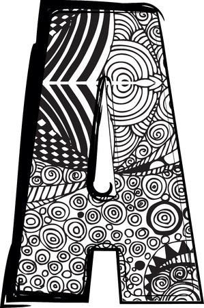 Letter A met abstracte tekening Stock Illustratie