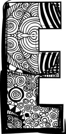 abecedario graffiti: Letra E con el dibujo abstracto. Ilustraci�n vectorial