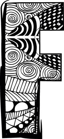 abecedario graffiti: Letra F con el dibujo abstracto. Ilustraci�n vectorial Vectores