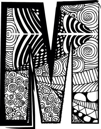 letra m: Letra M con el dibujo abstracto. Ilustraci�n vectorial