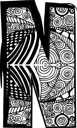abecedario graffiti: Carta N con dibujo abstracto. Ilustración vectorial Vectores