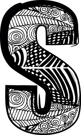 Letter S with abstract drawing. Vector illustration Vector