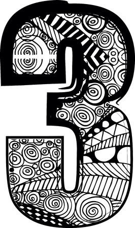 third birthday: Number 3 with abstract drawing. Vector illustration