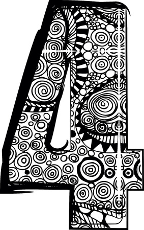 Number 4 with abstract drawing. Vector illustration Vector